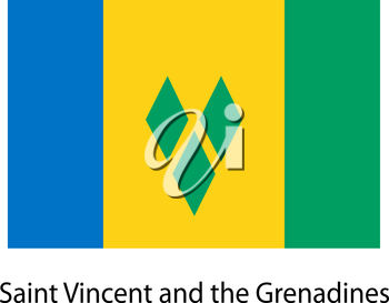 Flag  of the country  saint vincent and grenadines. Vector illustration.  Exact colors.