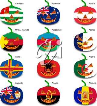 Set pumpkins for Halloween as a flags of the world. Vector illustration.