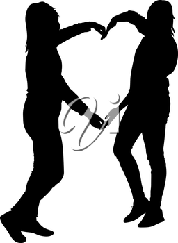 Silhouette two girls holding hands in heart shape, vector illustration.