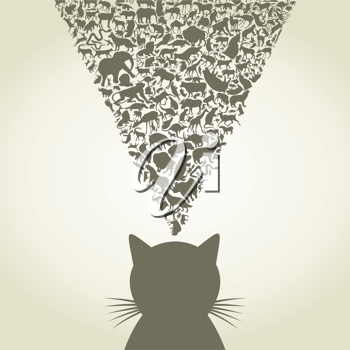 Royalty Free Clipart Image of a Cat Thinking of Animals