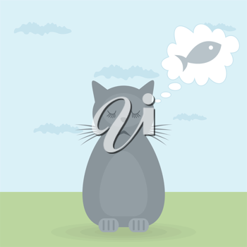 Royalty Free Clipart Image of a Cat Dreaming of a Fish