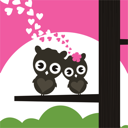 Two owls have fallen in love and sit on a tree. A vector illustration