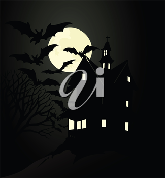 The terrible house under moon light. A vector illustration