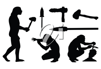 Silhouettes of ancient people and tools. A vector illustration