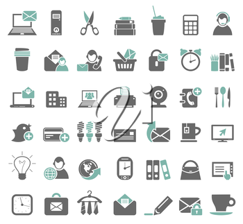 Set of icons on a theme office. A vector illustration