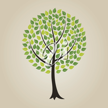 Tree with a roundish crone. A vector illustration