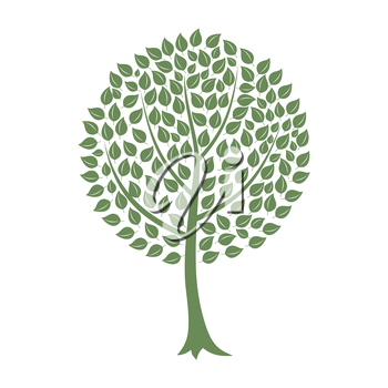Green tree on a white background. A vector illustration