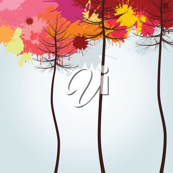 Autumn wood. A vector illustration