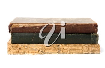 tattered book stack isolated on white background