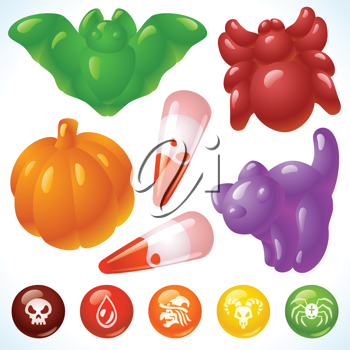 Royalty Free Clipart Image of Halloween Gummies