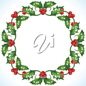 Royalty Free Clipart Image of a Holly Wreath