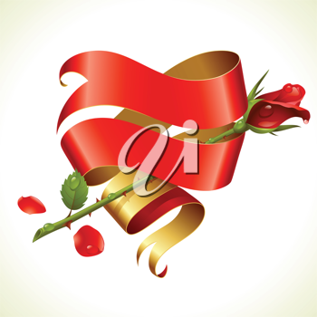 Royalty Free Clipart Image of a Ribbon Heart and Rose