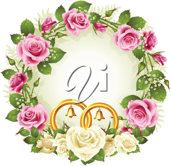 Royalty Free Clipart Image of a Wedding Wreath