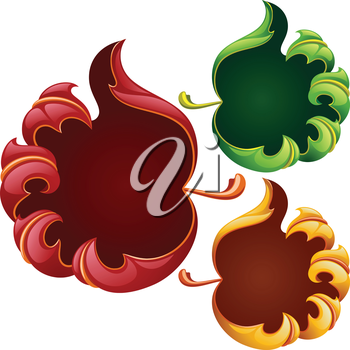 Vector fall leaves frame set in the shape of hand sign good. Red, yellow and green leaf isolated on white background