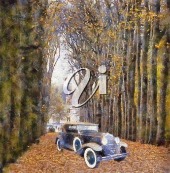 Royalty Free Photo of a a Vintage Car in a Forest