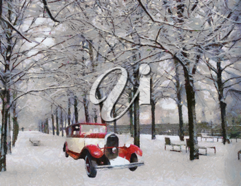 Royalty Free Photo of a  1928 Vintage Chenard Walcker Passenger Car on a Snowy Road