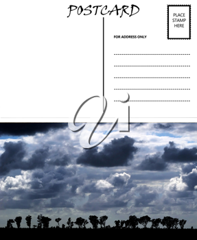 Royalty Free Photo of a Postcard Template with African Cloudy Sky