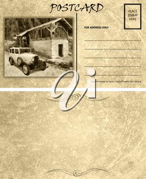 Royalty Free Photo of a Vintage Motor Car Stained Postcard Template
