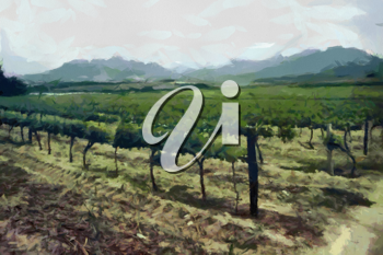 Royalty Free Photo of a Painting of a Vineyard