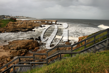 Picture of Wooden Steps and Concrete Jetty in Stormy Weather