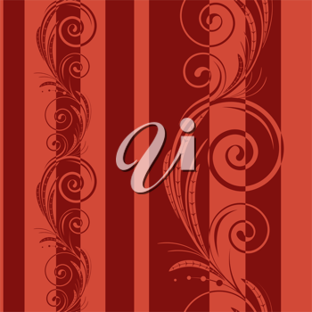 Royalty Free Clipart Image of a Flourish Background With Red Stripes
