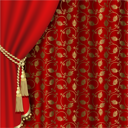 Royalty Free Clipart Image of Curtains