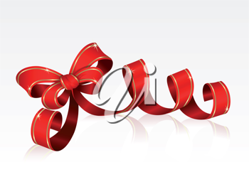 Royalty Free Clipart Image of a Red Ribbon and Bow