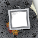 Royalty Free Clipart Image of a Silver Frame on a Wall