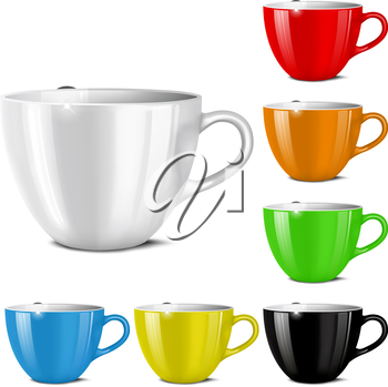 Cups of various colors on a white background. Mesh. This file contains transparency.
