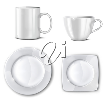 Empty cups and plates on a white background. Mesh.This file contains transparency.