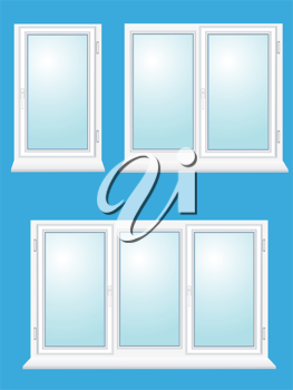 Royalty Free Clipart Image of a Group of Windows