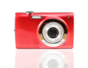red digital camera isolated on white background