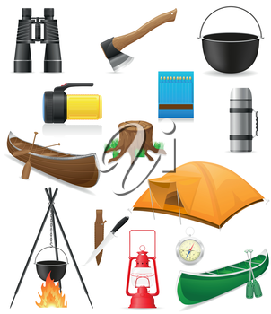 set icons items for outdoor recreation vector illustration isolated on white background