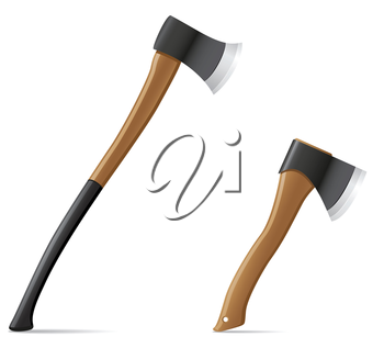 tool axe with wooden handle vector illustration isolated on white background