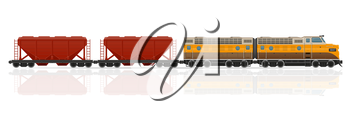railway train with locomotive and wagons vector illustration isolated on white background