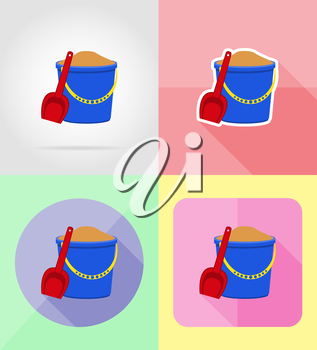 plastic bucket and shovel flat icons vector illustration isolated on background