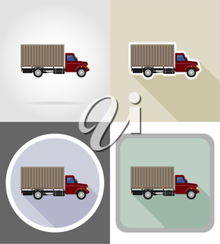 cargo truck for transportation of goods flat icons vector illustration isolated on background
