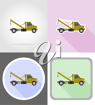 truck with crane for lifting goods flat icons vector illustration isolated on background