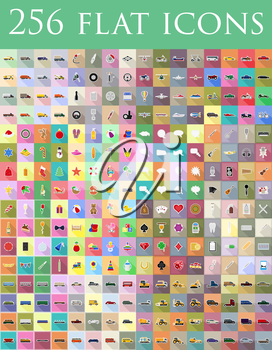 diverse set of flat icons vector illustration isolated on background