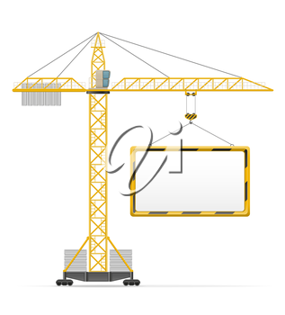 building crane and blank template board vector illustration isolated on white background