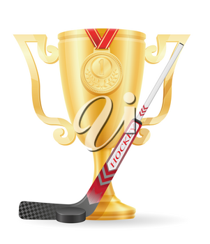 hockey cup winner gold stock vector illustration isolated on white background