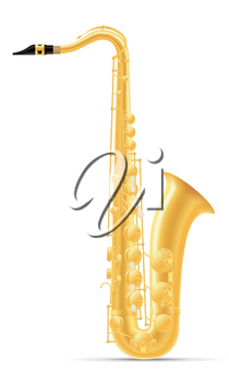saxophone wind musical instruments stock vector illustration isolated on white background