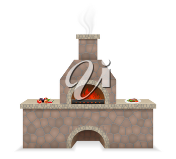 barbecue oven built of stone vector illustration isolated on white background