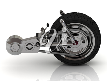 Wheel of motorcycle with chain, pedals, gears and disc