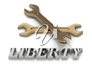 LIBERTY- inscription of metal letters and 2 keys on white background