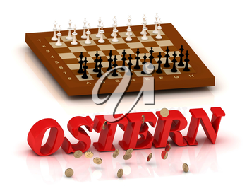 OSTERN- inscription of color letters and chess on white background