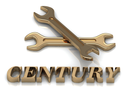 CENTURY- inscription of metal letters and 2 keys on white background