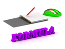 FORMULA  bright volume letter and copybook with red pen and computer mouse on white background