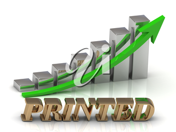 PRINTED- inscription of gold letters and Graphic growth and gold arrows on white background