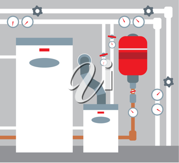 Royalty Free Clipart Image of a Furnace Room